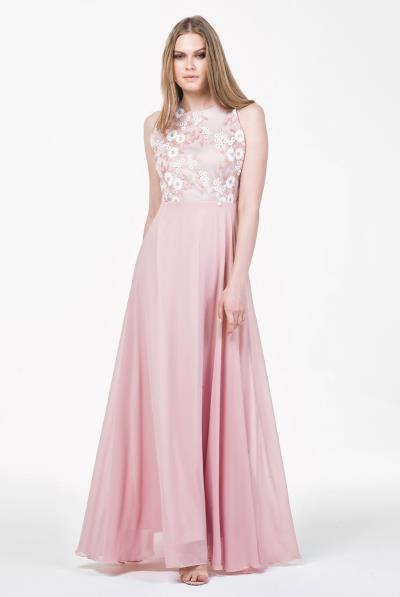 Φόρεμα μάξι chiffon μπούστο δαντέλας - 18117 1c4715d13dc