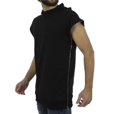 64cd5297e8d4 Ανδρικό Αμάνικη μακρυά Μπλούζα με Κουκούλα T-shirt  hashtag BLAD W18093  Μαύρο
