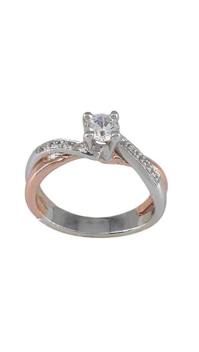 Δαχτυλίδι μονόπετρο 18 καράτια λευκόχρυσο και ροζ χρυσό με μπριγιάν a312021e54d