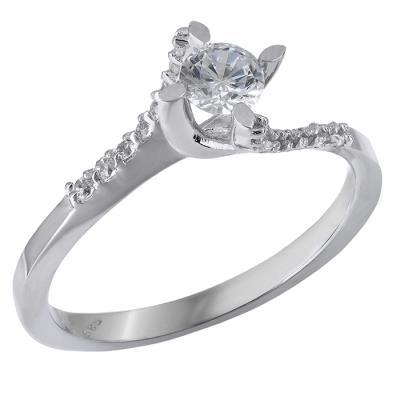 Λευκόχρυσο μονόπετρο δαχτυλίδι Κ14 με πέτρες ζιργκόν 028871 028871 Χρυσός  14 Καρ 70c7bf02c3f