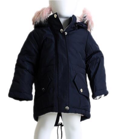 Βρεφικό μπουφάν με αποσπώμενη κουκούλα και ροζ γούνα (Σκούρο μπλε) 15ee4c1288e