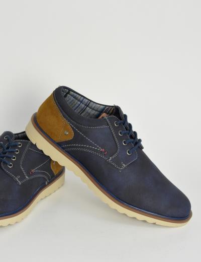 09adb0953ab Ανδρικά δετά Casual παπούτσια μπλε με διχρωμία EL0630F