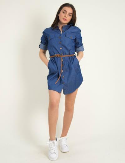 6ec494556364 Γυναικείο μπλε τζιν πουκαμισοφόρεμα ζωνάκι Coocu 21035