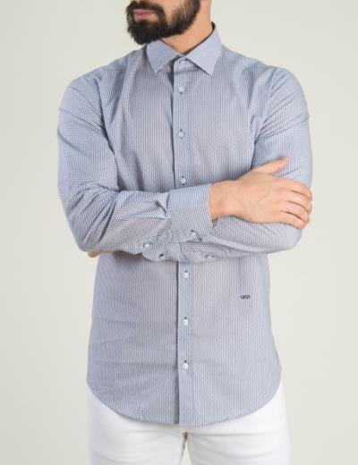 97e088cbd836 Ανδρικό λευκό πουκάμισο μικροσχέδιο GioS 9081S19