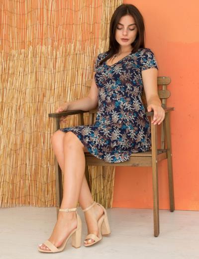 662417f25d76 Γυναικείο γαλάζιο φόρεμα μίνι κλος φλοράλ Benisssimo 91004
