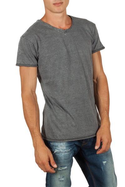 Ανδρικό longline t-shirt σκούρο γκρι μελανζέ με V - 20382-dgr b3a778718e5