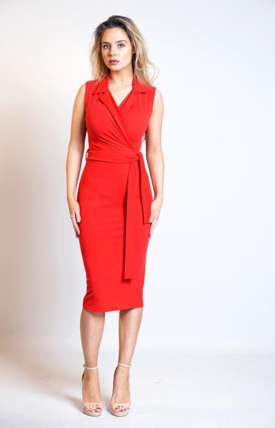 a3c07dc353b7 Φόρεμα κρουαζέ με γιακά και ζώνη - Κόκκινο