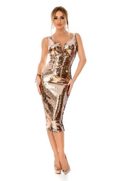3e7f212f7903 9296 RO Εντυπωσιακό μίντι φόρεμα με παγιέτες - Χρυσό